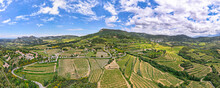 Aerial Panoramic View Of The Vineyard In The Côtes Du Rhône At The Base Of The Mont Ventoux Beside Les Dentelles De Montmirail