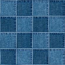 Jeans Patchwork Fashion Background. Denim Blue Grunge Textured Seamless Pattern