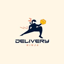 Express Delivery Ninja Man Courier Lifting Package Logo Design Vector Template. Courier Wearing Mask To Prevent Covid-19, Coronavirus, Corona Pandemic. Quarantine Concept.