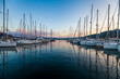 Leinwandbild Motiv Marina yacht club on the European island of Sardinia at sunset