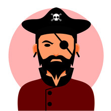 Pirate Avatar In Vector Illustration. With Black Hat And Red Shirt. Suitable For Web Landing Page, Banner, Poster, Sticker, Social Media Icon, And Other.
