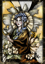 Beautiful Oriental Girl With A Large Fairytale Umbrella Of Petals, Japanese With A Hairstyle And Flower Wreath On Head, In A Mantle With An Ornament On The Collar, On A Graphic Background In Flowers.