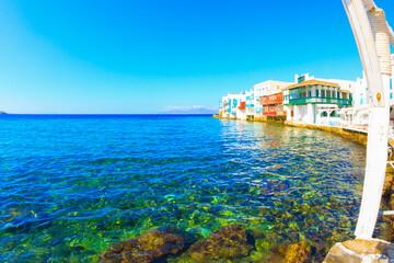 Little Venice green waters closeup view Mykonos island Greece Cyclades