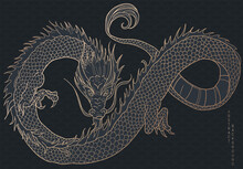 Hand Drawn Japanese Vector Dragon In Black And Gold Colours