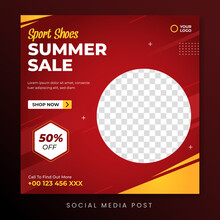 Sport Shoes Summer Sale Social Media Promotion Banner Template