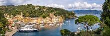 Panoramic View Of The Harbour In Portofino, Genoa, Italy