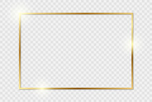 Gold Shiny Glowing Vintage Frame With Shadows Isolated On Transparent Background. Golden Luxury Realistic Rectangle Border. PNG