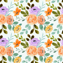 Seamless Pattern Of Orange Rose Flower With Watercolor