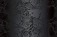 Luxury Black Metal Gradient Background With Distressed Stones, Rocks, Pebbles, Macadam Texture.