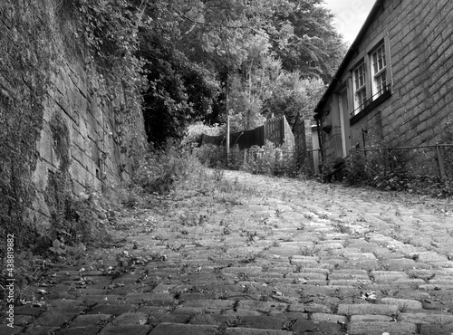 Canvastavla a cobbled steep lane known as the buttress leading from hebden bridge towards he