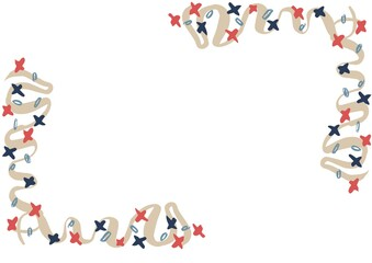 Composition of frame with american flag stars and colours with copy space on white background
