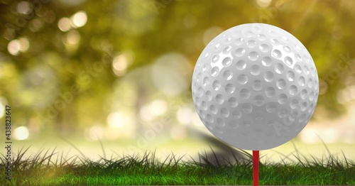 Composition of close up of golf ball on red tee on grass with copy space