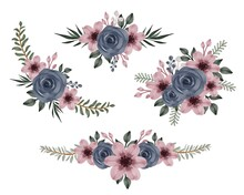 Arrangement Floral Watercolor Of Navy Roses And Pink Flower For Greeting And Wedding Card