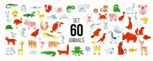 Set Of 60 Animals: Mammals, Birds, Fish. Simple Minimalistic Graphics, Muted Light Colors.