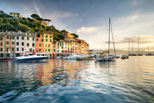 Portofino Harbour At Sunrise, Genoa, Italy