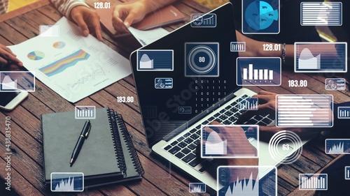 Stampa su Tela Creative visual of business data analyzing technology