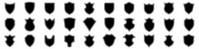Collection Of Shield Icons. Shields Icons Set. Set Of Shields On An Isolated Background. Protection. Different Shields In Black For Your Design EPS 10