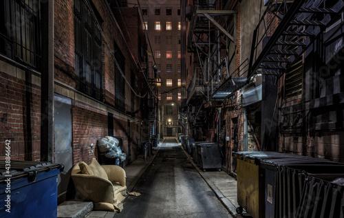 Billede på lærred dark empty alley in the city of night
