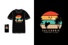 California Surfers Club,t-shirt Mockup Typography