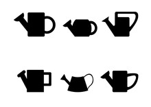 Black Silhouettes Of Watering Cans On White Background