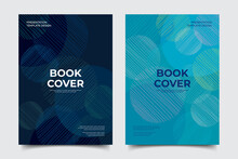 Abstract Circle Geometric With Blue Tone Backgrond Concept Template. Memphis Vector Design Elements Set For Bookcover, Corporate Report, Poster, And Flyer