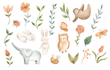 Watercolor Baby Animals For Nursery Illustration