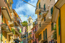 The Colorful Village Of Manarola, Italy, One Of The Cinque Terre Villages On The Ligurian Coast Of Italy.