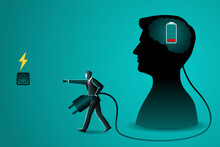 Vector Illustration Of Business Concept, A Businessman Carrying Electric Plug To Charging A Brain