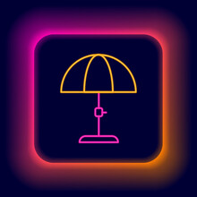 Glowing Neon Line Sun Protective Umbrella For Beach Icon Isolated On Black Background. Large Parasol For Outdoor Space. Beach Umbrella. Colorful Outline Concept. Vector