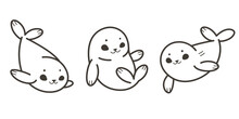 Cartoon Seal Sketch Line Icon. Cute Animals Icons Set. Childish Vector Print For Nursery, Kids Apparel, Poster, Postcard, Pattern.