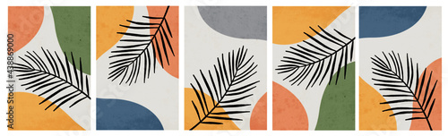 Contemporary art poster collection. Botanical wall art. Design for print, cover, wallpaper, social media. Palm leaves in the illustration. Pastel colors . Vintage