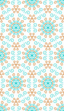 Seamless Background With Blue And Orange Ornament, Geometric Shapes, Rays, Swirls And Lines.