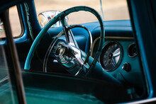 Blue Interior Of Old Vintage Classic Car