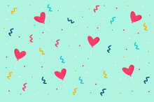 Balloons Hearts And Confetti On Green Background.