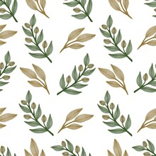 Seamless Pattern Of Brown Leaf And Wild Plant For Fabric And Background Design