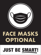 Face Masks Optional Sign | Facemasks Not Required Vertical Design For Retail Business, Restaurants, Offices, Hotels And More | Post-Covid Re-Opening Signage | Just Be Smart Sign