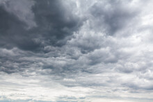 Sky Covered By Grey Clouds . Stratocumulus Gray Cloudscape