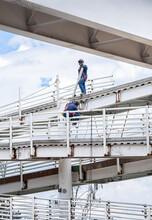 Obreros Trabajando En Reparación De Puente, Bogotá, Colombia.