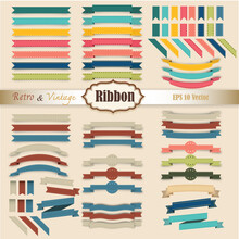 New Vector Set Of Ribbon Colorful Retro And Vintage Style