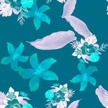 Purple Seamless Texture. Navy Pattern Leaf. Indigo Tropical Nature. Violet Decoration Leaves. Cobalt Drawing Design. Blue Wallpaper Textile. Garden Hibiscus.