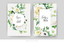 Tender Floral Vector Wedding Invite, Save The Date Card Template Design Set. Elegant Editable Watercolor Bouquet Illustration. Trendy Yellow White Roses, Anemone Flower, Green Jasmine Vine, Greenery.