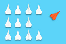 Business Concept For New Ideas Creativity And Innovative, Solution, With Orange Paper Plane In Different Way