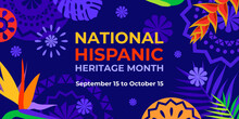 Hispanic Heritage Month. Vector Web Banner, Poster, Card For Social Media, Networks. Greeting With National Hispanic Heritage Month Text, Papel Picado Pattern, Tropical Plants On Purple Background.