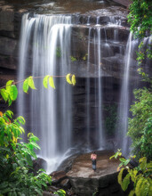 Thung Na Muang Waterfall, Beautiful Waterfall As One Of Tourist Destination Attraction At Ubon Ratchathani In Thailand.