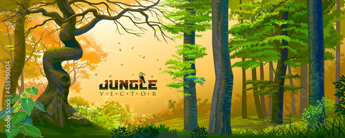Canvastavla A bird sitting on jungle vector text message in the middle of a jungle