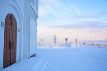 MURMANSK, RUSSIA - FEBRUARY 10, 2021: Savior On Waters Church