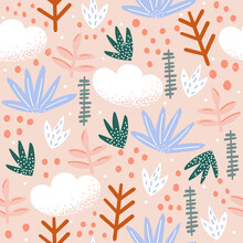 Seamless Pattern With Abstract Flowers. Summer Tropical Print. Vector Hand Drawn Illustration.