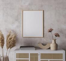 Mock Up Frame In Boho Home Interior Background, 3d Render