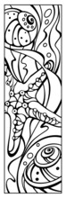 Coral Reef, Starfish And Seashells Coloring Page. Bookmark For Book. Doodle Patterns. Black And White Graphic. Sketch Of Ornaments For Creativity Of Children And Adults. EPS 8