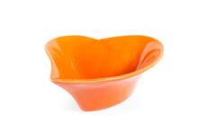 Empty Orange Bowl On White Background